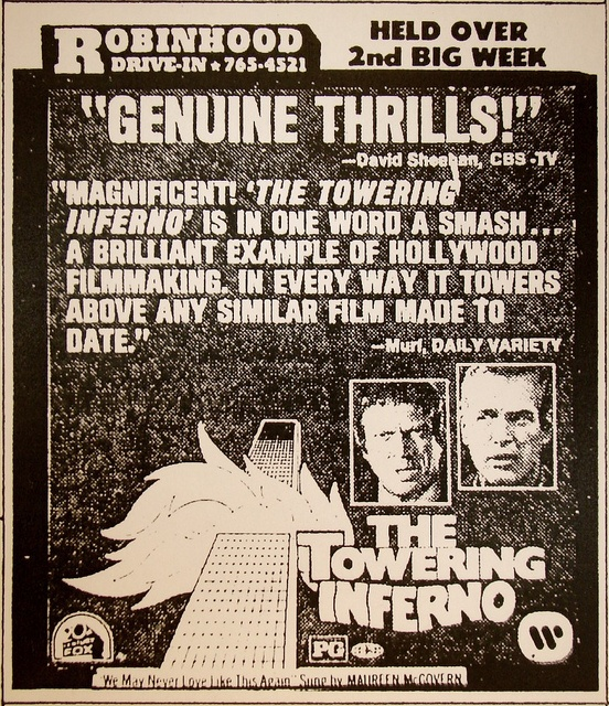 drive in ad towering inferno