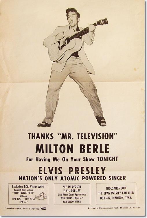 Elvis poster 1956 Berle