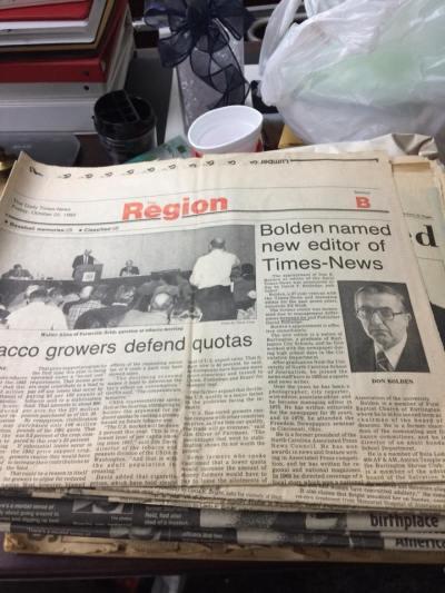 Bolden named newspaper page