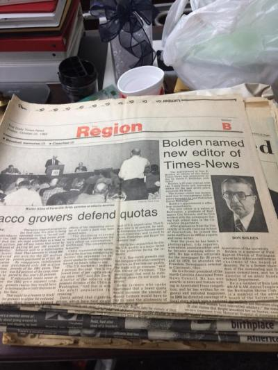 Bolden named newspaper page