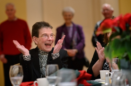 Frances Woody smiles as she is announced as the Kiwanis Club of Burlington Citizen of the Year during a banquet at Alamance Country Club in Burlington Thursday evening. Photo Scott Muthersbaugh.